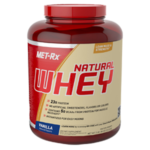natural whey – vanilla whey protein powder – met-rx