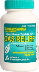 Gas Relief <p>Relieves bloating, pressure, and discomfort of gas which can be caused by certain foods or air swallowing.</p><p>Mint flavor chewable tablets.</p><p>Active ingredient: Simethicone, 80 mg (antiflatulant).</p><p>Compare to active ingredient in Gas-X® Regular Strength and Mylanta® Gas.</p> 100 Tablets 80 mg $9.29