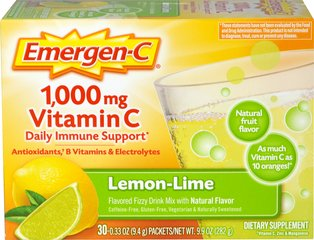 "Emergen-C Packets - Lemon/Lime <p><b>From the Manufacturer's Label: </p></b><p>Flavored Fizzy Drink Mix - 30 Packets</p>The powerful blend of Vitamin C, 24 nutrients, 7 B Vitamins, antioxidants and electrolytes supports your immune system, increases your metabolic function, and enhances your energy level to help really feel ""the good!""**</p>  30 Packets  $9.99"