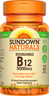 Sundown Naturals Dissolvable B-12 5000 MCG