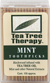 Tea Tree Toothpicks <p><b>From the Manufacturer's Label:</b></p> <p>Tea Tree Therapy Toothpicks are made from birchwood trees treated with Tea Tree Oil and other natural extracts to provide optimal oral hygene.  Tea Tree Oil's natural properties help freshen breath.  </p> <p>Manufactured by Tea Tree Therapy Inc..</p> 100 Pack  $1.99