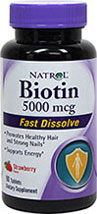 Biotin 5000 mcg Fast Dissolve Strawberry Tablets