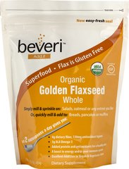 Organic Golden Flaxseeds <p><b>From the manufacturers Label:</b></p> Beveri Organic Golden Flaxseed are a good source of omega-3 and omega-6 fatty acids.  Just two tablespoons a day gives you 4 grams of dietary fiber. 16 oz Bag  $8.99