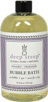Organic Lavender Chamomile Bubble Bath <strong></strong><p><strong>From the Manufacturer: </strong></p><p>Deep Steep bubble bath combines essential oils, aloe and other organic herbs.</p><p>• Organic, Clean, Pure, Natural</p><p>• Lavender Chamomile Bubble Bath</p><p>Deep Steep Bubble Bath does not contain parabens, sodium lauryl sulfate, mineral oil, petroleum, artificial fragrances or chemical preservatives. Products