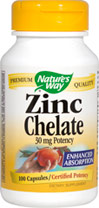 Zinc 30 mg Chelate <p><strong>From the Manufacturer's Label: </strong></p><p>Enhanced Absorption</p><p>Health & longevity through the healing power of nature—that's what it means to Trust the Leaf.** Zinc is essential for cellular reproduction and is present in all tissue, organs and secretions of the body.** It is provided in an advanced amino acid chelate complex for optimal absorption.</p> 100 Capsules 30 mg $4.54