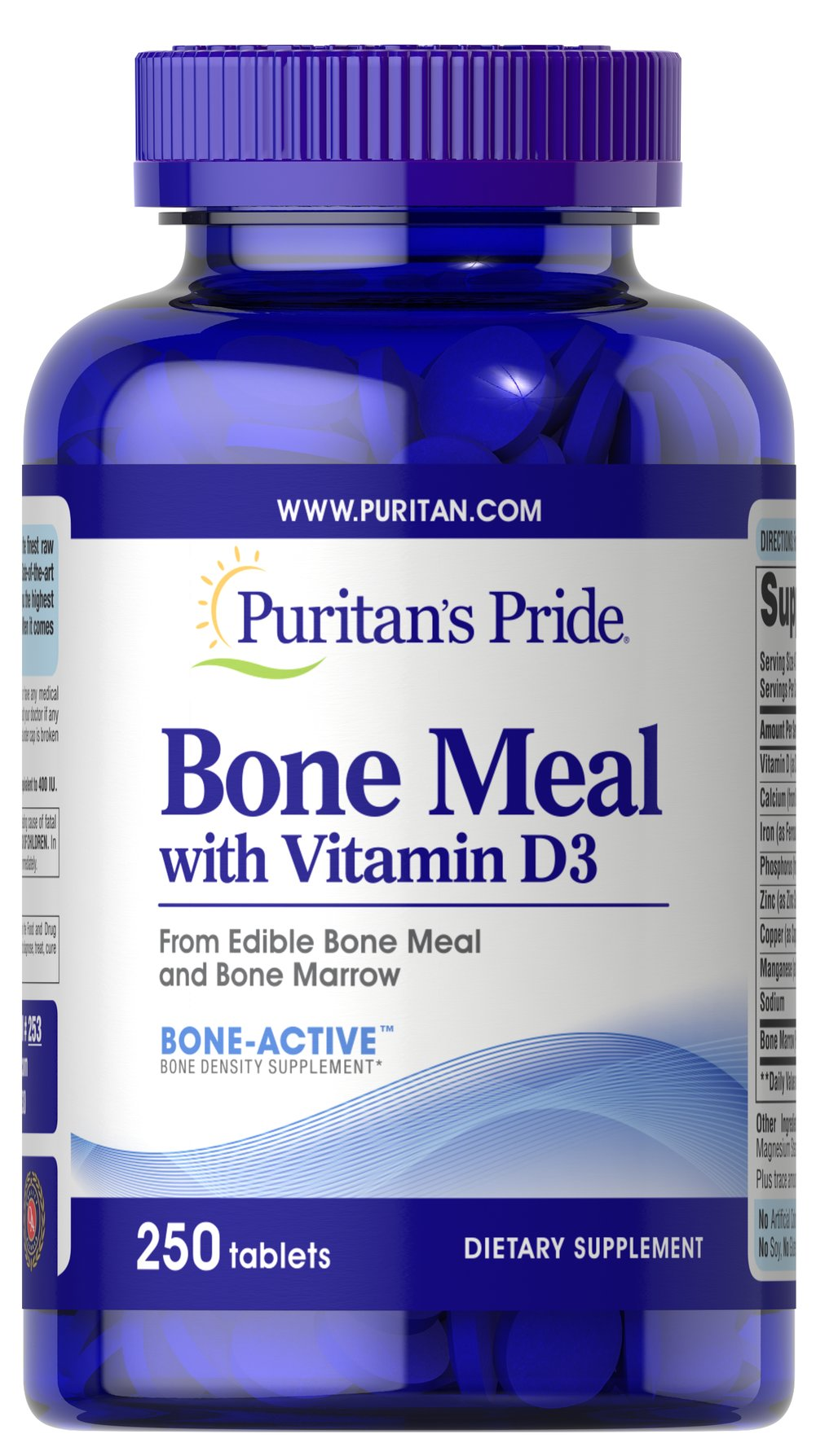 Bone Meal with Vitamin D <p> Supports Bone Health**</p><p>A natural source of calcium, phosphorus and trace minerals.  Fortified with natural Vitamin D.</p> 250 Tablets