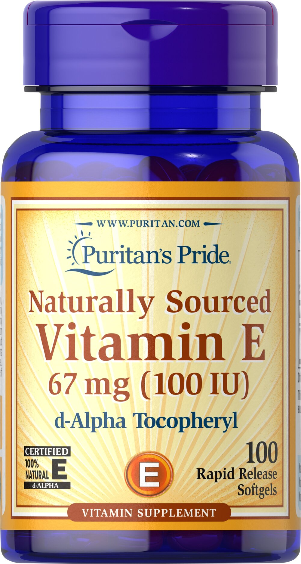 Vitamin E-100 iu 100% Natural  100 Softgels 100 IU $9.99