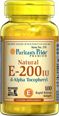 Vitamin E-200 iu 100% Natural <p><strong>Vitamin E</strong> is a potent antioxidant that helps fight free radicals.** Studies have shown that oxidative stress caused by free radicals may contribute to the premature aging of cells.** <strong>Vitamin E</strong> also promotes immune function and helps support cardiovascular health.** Our Vitamin E is 100% natural and comes in a convenient to use softgel.</p> 100 Softgels 200 IU $11.99