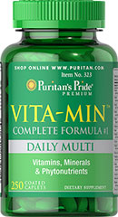 Vita-Min™ Multivitamin (Complete Formula #1)  <p>Our complete multivitamin and mineral formula contains over 50 ingredients including antioxidants and Amino Acids, which perform a variety of functions necessary for health and wellness.  Coated tablets for ease of swallowing.</p> 250 Tablets  $19.99