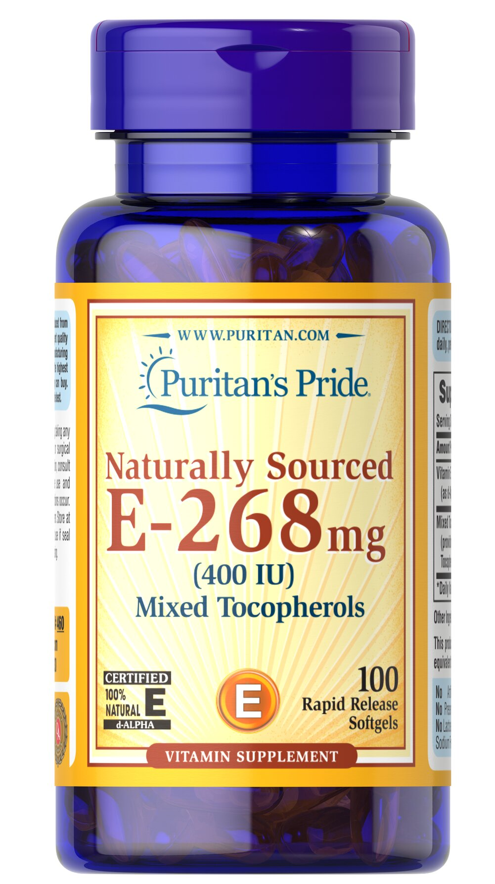 Vitamin E-400 iu Mixed Tocopherols Natural <p><strong>Vitamin E</strong> promotes immune function and helps support cardiovascular health.** Vitamin E is also a powerful <strong>antioxidant</strong> that helps fight cell-damaging free radicals in the body.** Studies have shown that oxidative stress caused by free radicals may contribute to the premature aging of cells.**</p> 100 Softgels 400 IU $22.99
