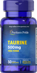 Taurine 500 mg <p>Natural Amino Acids - Found in high concentrations in the heart, Taurine is a building block of all other amino acids as well as a key component of bile.  Available in (500 mg) caplets</p> 50 Caplets 500 mg $6.29