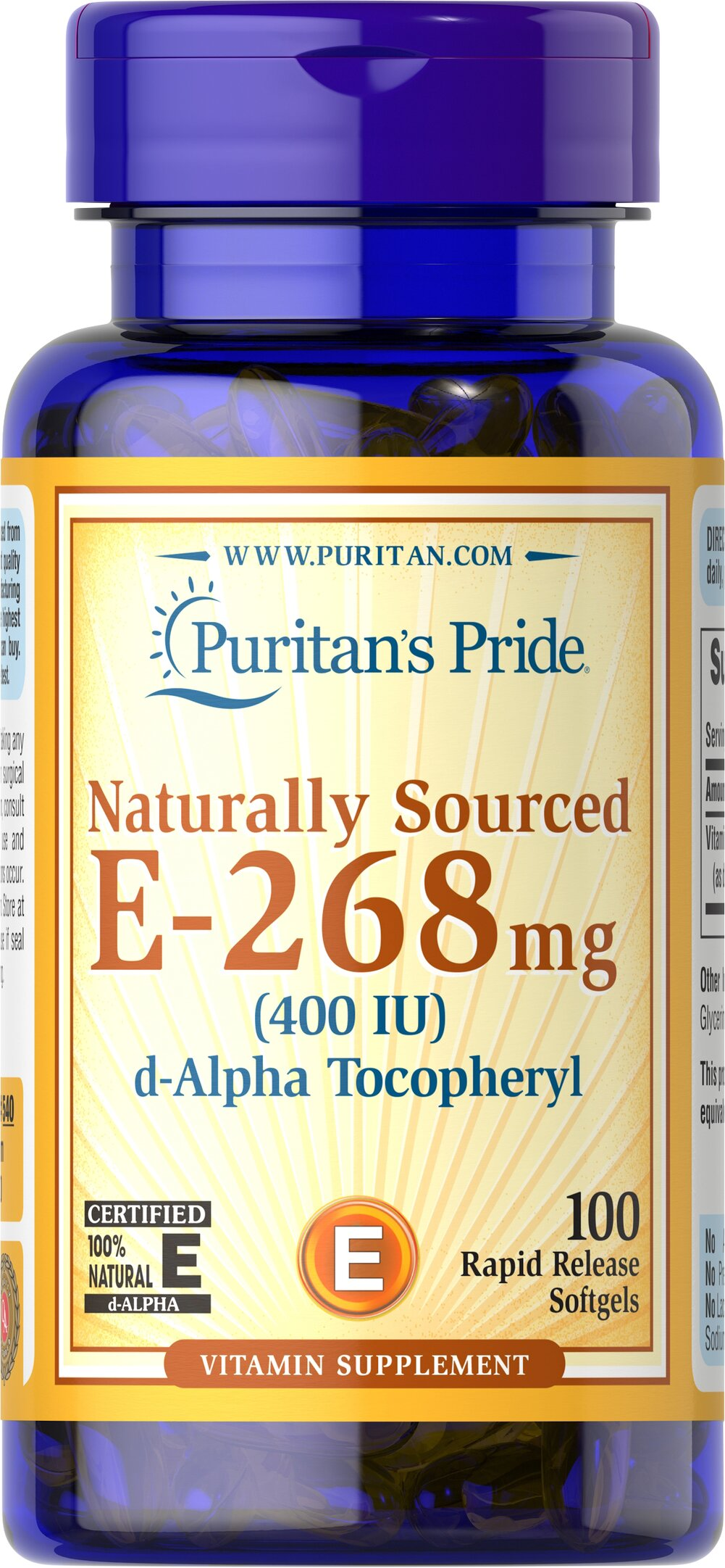 Vitamin E-400 iu 100% Natural <p><strong>Vitamin E</strong> is a potent antioxidant that helps fight free radicals.** Studies have shown that oxidative stress caused by free radicals may contribute to the premature aging of cells.** Vitamin E also promotes immune function and helps support cardiovascular health.** Our Vitamin E is 100% natural and comes in a convenient to use softgel.</p> 100 Softgels 400 IU $21.99