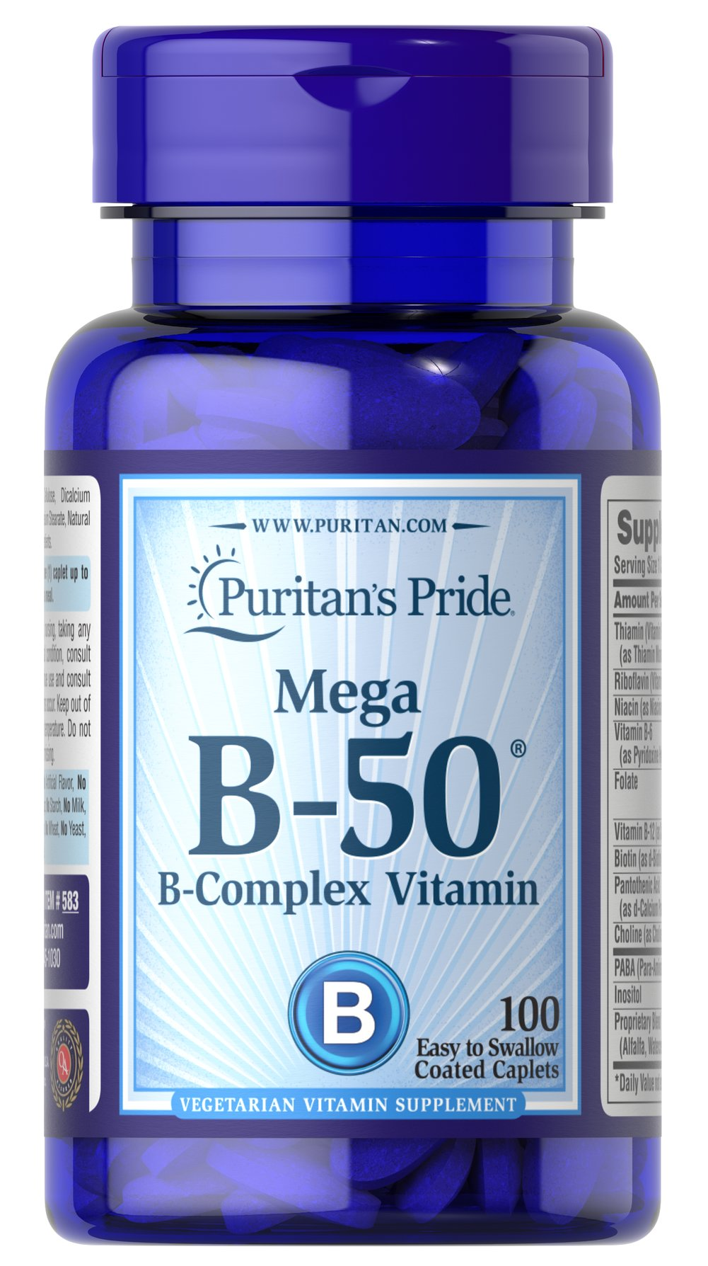 Vitamin B-50® Complex <p>The Vitamin B-50® Complex is made up of several vitamins that work well together to support nervous system health.** B Complex vitamins also promote energy metabolism.** Each nutrient in the Vitamin B Complex performs a unique role in maintaining proper metabolic functioning and is essential for well being.**</p> 100 Tablets 50 mg $17.49