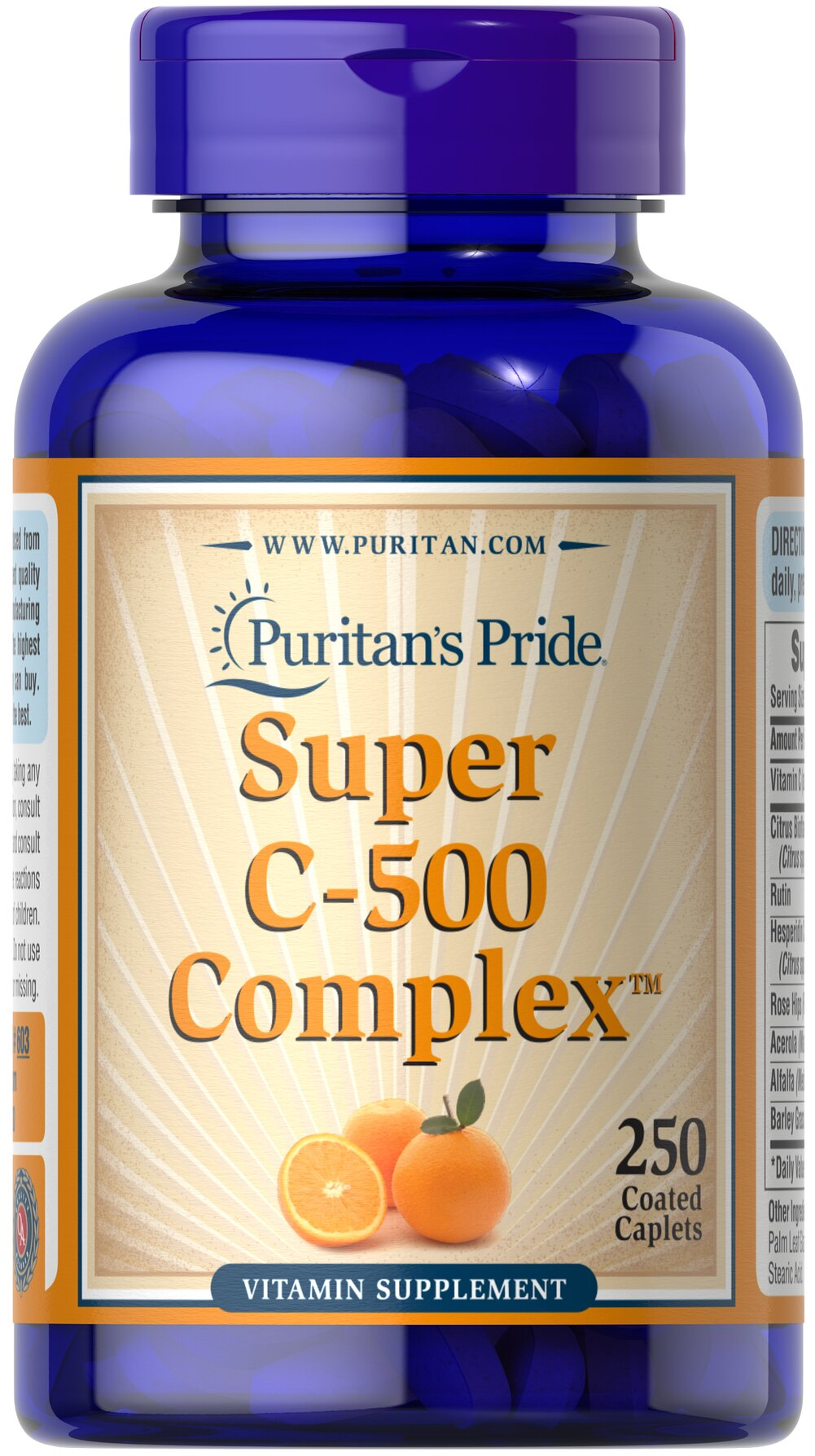 Vitamin C-500 Complex <p>Vitamin C  is essential to many functions in the body and is one of the leading vitamins for immune support.** Our C-complex includes potent Vitamin C as Ascorbic Acid. We also include Citrus Bioflavonoids, Rose Hips, Rutin, and Acerola.**</p><p>Offers superior antioxidant support.**</p><p>Supports healthy immune function and promotes well-being.**</p> 250 Coated Caplets 500 mg $18.89