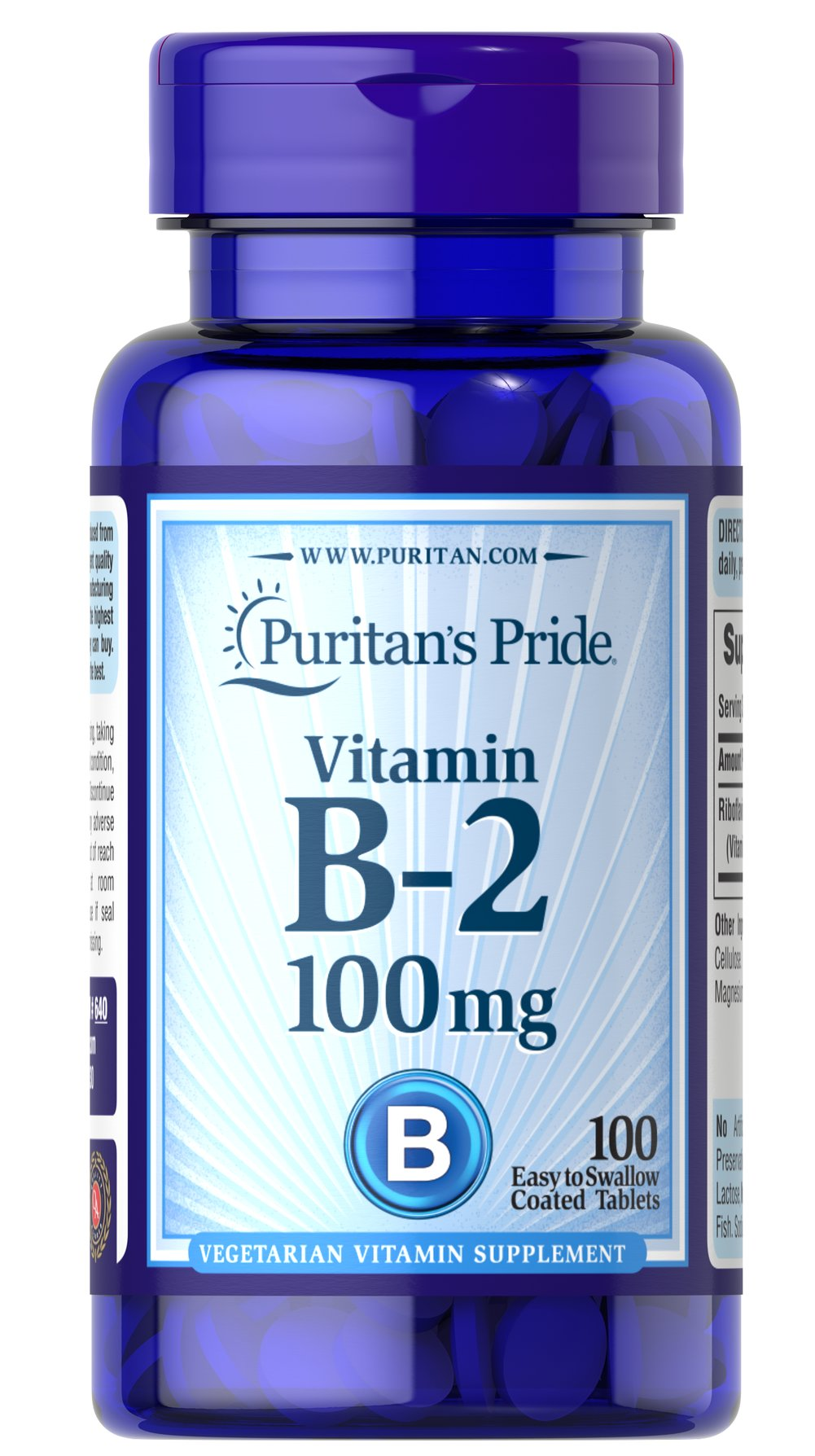 Vitamin B-2 (Riboflavin) 100 mg <p>Sugar, Starch & Preservative Free</p> 100 Tablets 100 mg $9.29