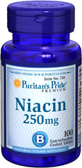Niacin 250 mg <p> Supports Energy Metabolism and Nervous System Health** </p><p>Niacin is a B-Vitamin that is part of a coenzyme needed for energy metabolism.** Niacin helps maintain healthy functions of the nervous system and skin.**</p> 100 Tablets 250 mg $9.29