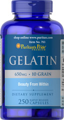 Gelatin 650 mg <p>Supports the Beauty of Nails**</p><p>An active lifestyle, harsh detergents, on-the-run nutrition - all can have an effect on the health of your nails.   Gelatin is one of the raw materials for collagen, the building block for strong, healthy nails.** As a supplement, Gelatin supports the beauty of your nails.**</p> 250 Capsules 650 mg $19.99