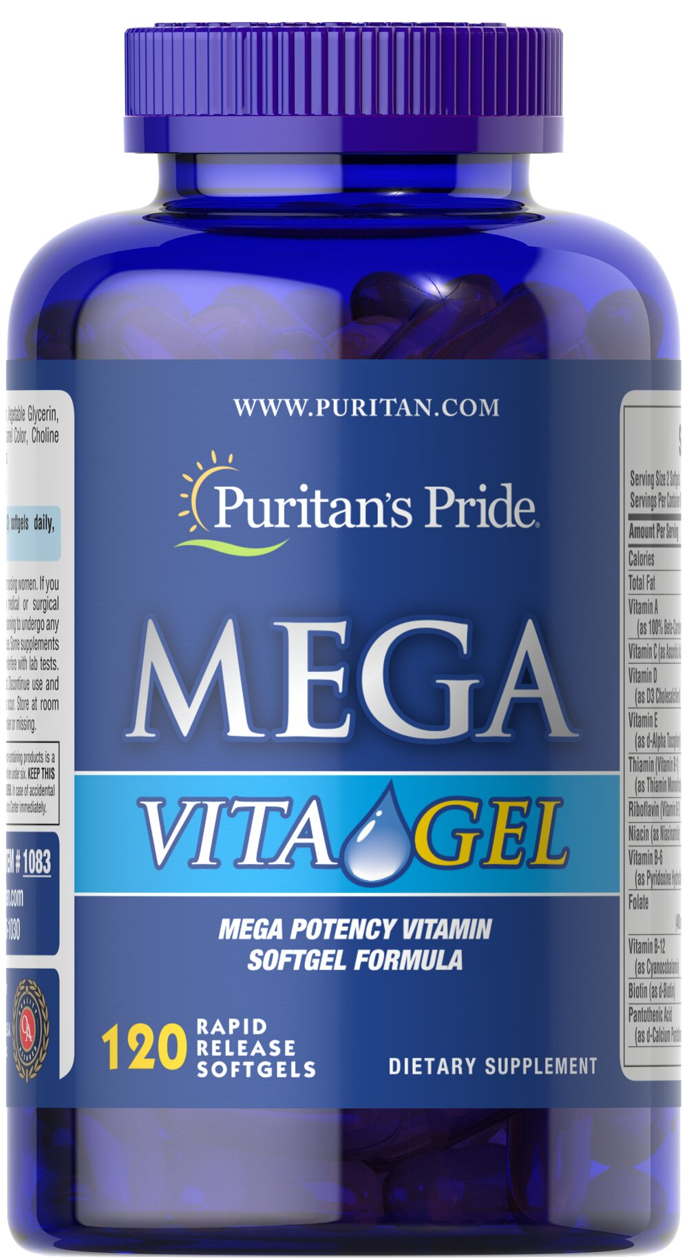 Mega Vita Gel Multivitamins  120 Softgels  $23.99