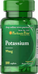 Potassium 99 mg <p>Works with sodium to regulate the body's water balance. </p><p>Helps attract nutrients into cells and required for carbohydrate and protein metabolism. </p> 100 Caplets 99 mg $6.99