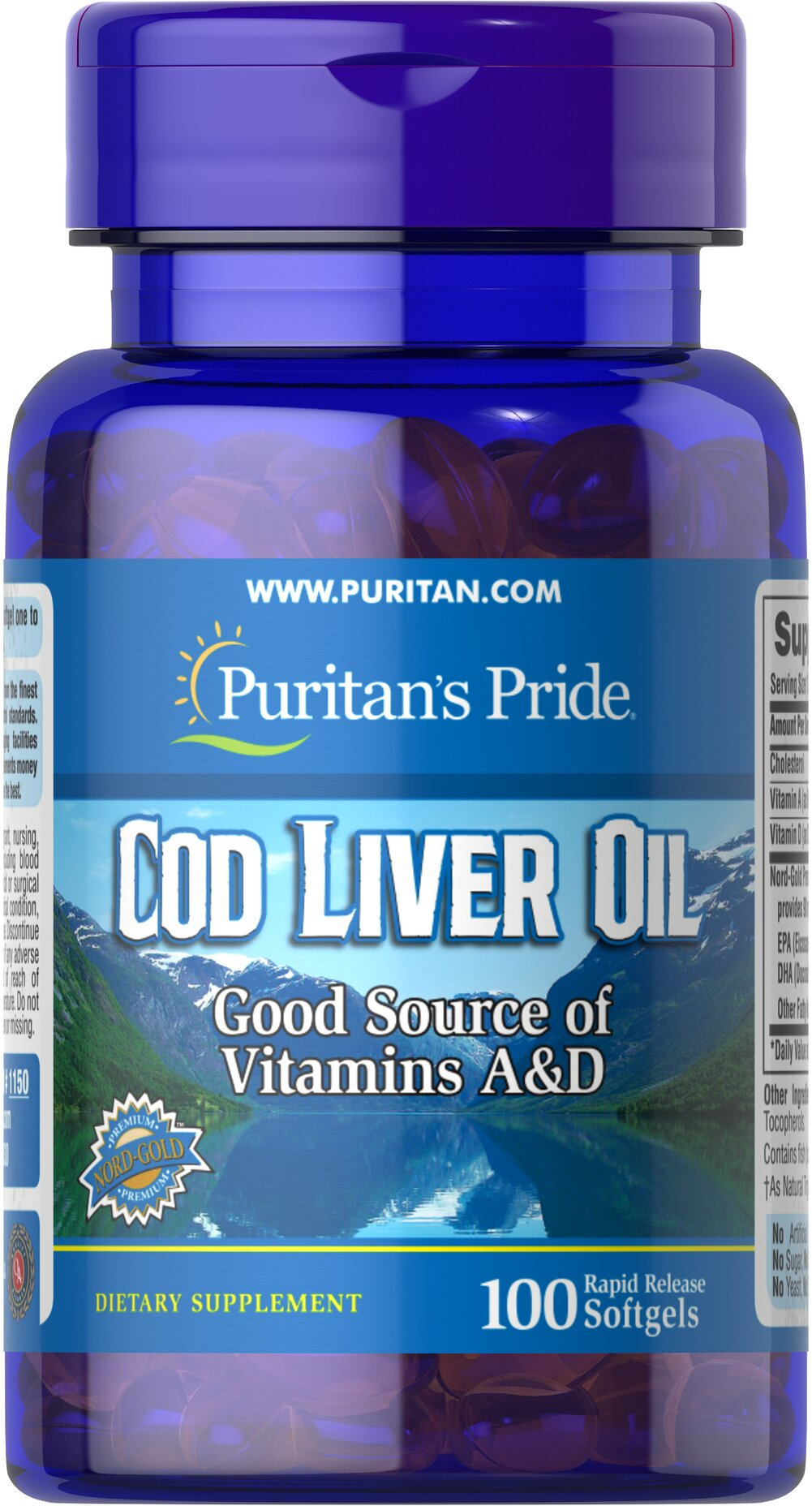 Norwegian Cod Liver Oil 415 mg <p>Norwegian cod has traditionally been one of the most popular natural sources of  <strong>both Vitamins A & D</strong>. </p><p>Vitamin D helps maintain healthy bones in adults. ** </p><p>Vitamin A helps maintain eye health. **</p><p>Vitamins A & D help regulate the immune system.**</p> 100 Softgels 415 mg $6.49