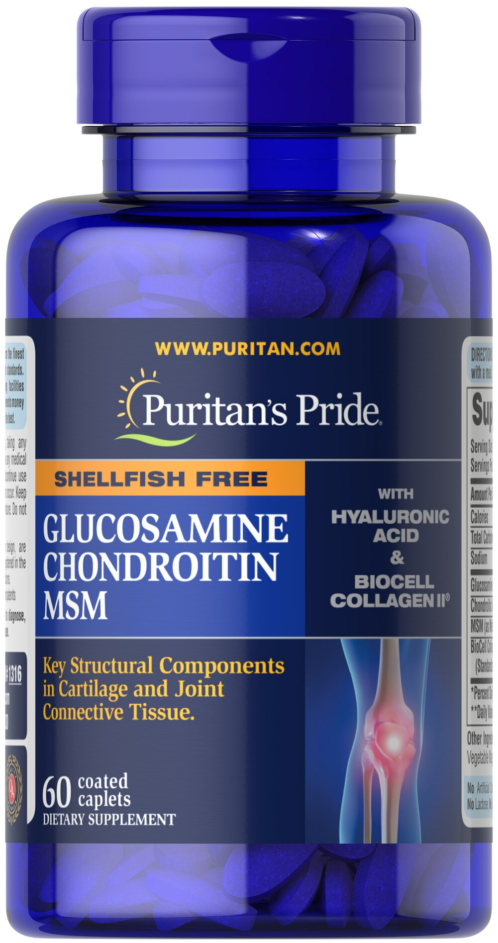 Joint Soother®  Glucosamine, Chondroitin & MSM  with Hyaluronic Acid & Collagen  60 Caplets  $38.24