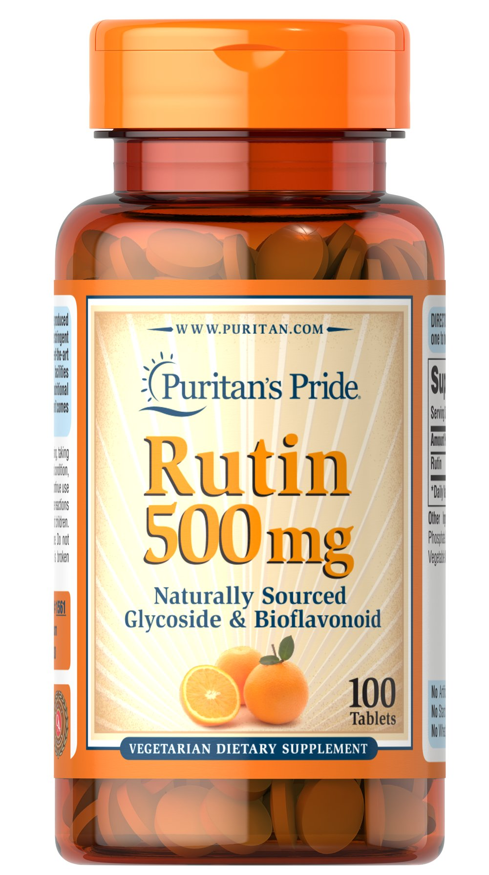Rutin 500 mg <p>Bioflavonoids are water soluble compounds that can be found in such sources as citrus fruits, rosehips, and other plant materials.  For those that cannot tolerate Rose Hips or Ascorbic Acid, Rutin can be beneficial because of its antioxidant properties. </p> 100 Tablets 500 mg $20.59