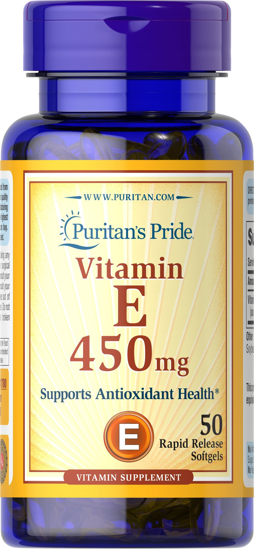 Vitamin E-1000 IU <p>Features dl-Alpha Vitamin E, a synthetic form of Vitamin E</p><p>Promotes heart and circulatory health**</p><p>Contributes to healthy skin and immune function**</p><p>Rapid release liquid softgels are easy to swallow</p><p>One a day formula</p> 50 Softgels 1000 IU $10.99