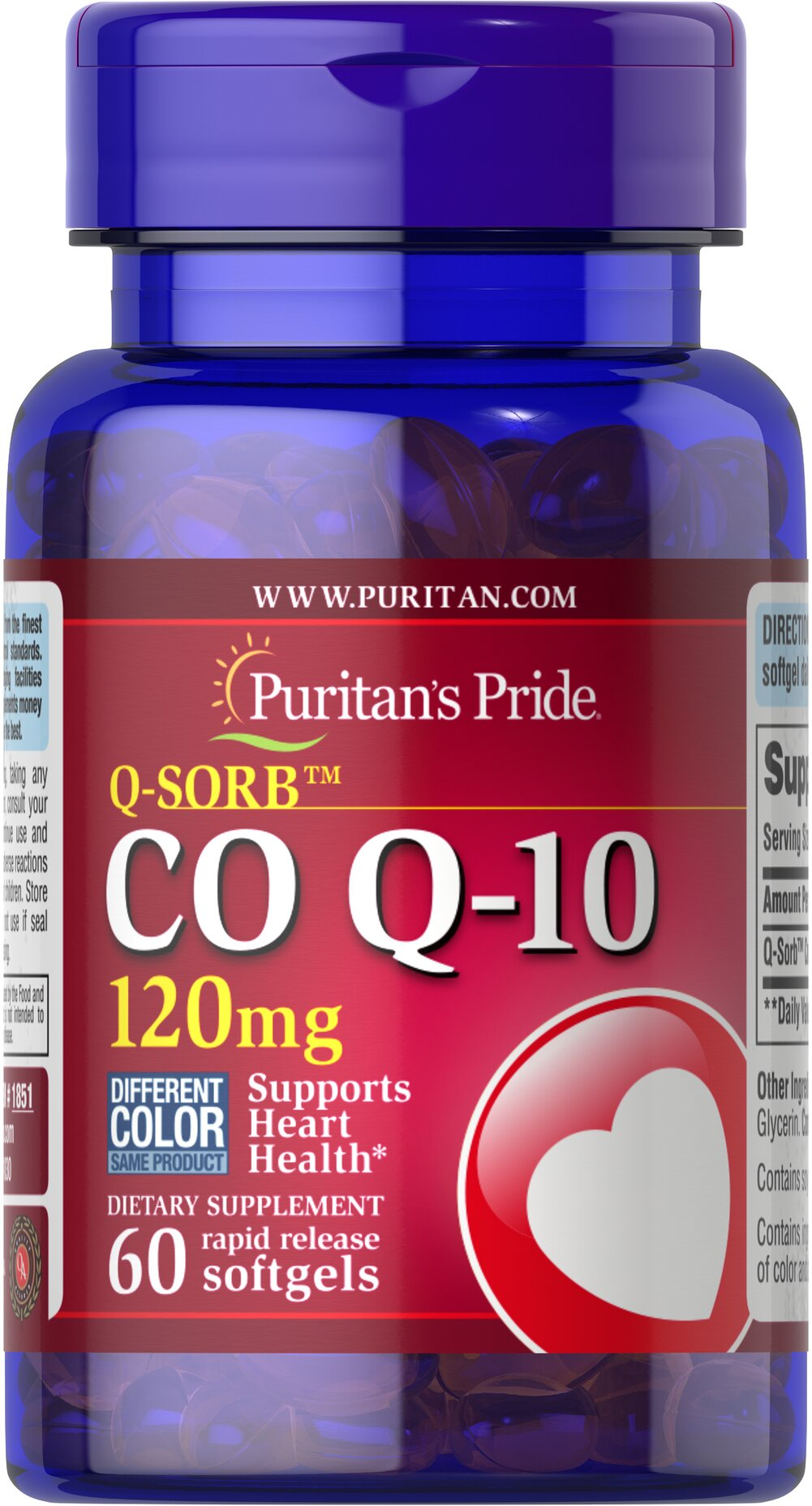 Q-SORB™ Co Q-10 120 mg <p></p>Made with a natural, highly bioavailable form of Co Q 10 — Q-Sorb.™ Important for Statin medication users++ — taking Q-Sorb™ Co Q 10 can help replenish what Statin drugs can deplete. Coenzyme Q-10 provides powerful antioxidant support.** Good oral health is linked to cardiovascular health; Coenzyme Q10 supports both!** Hermetically sealed in easy to swallow rapid-release softgels for superior absorption. <br /><br />++Note: Statin medications