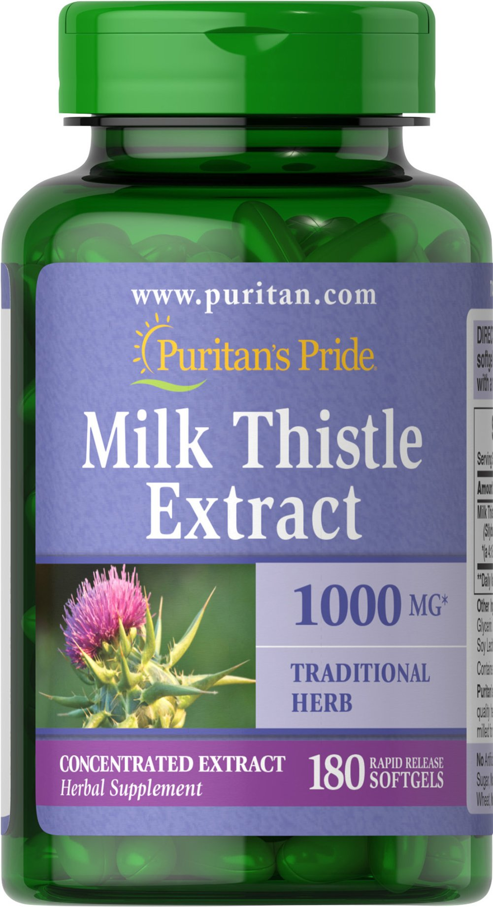 Milk Thistle 4:1 Extract 1000 mg (Silymarin) <p>Milk Thistle, derived from a purple flower, has been used in Greek practices for thousands of years.</p><p>The exceptional benefits of Milk Thistle are due to its antioxidant properties, which help to optimize health and well being.**  Milk Thistle helps maintain healthy liver function by supporting the structure of the outer cell membrane of liver cells.**</p><p>Adults can take one softgel once or twice daily