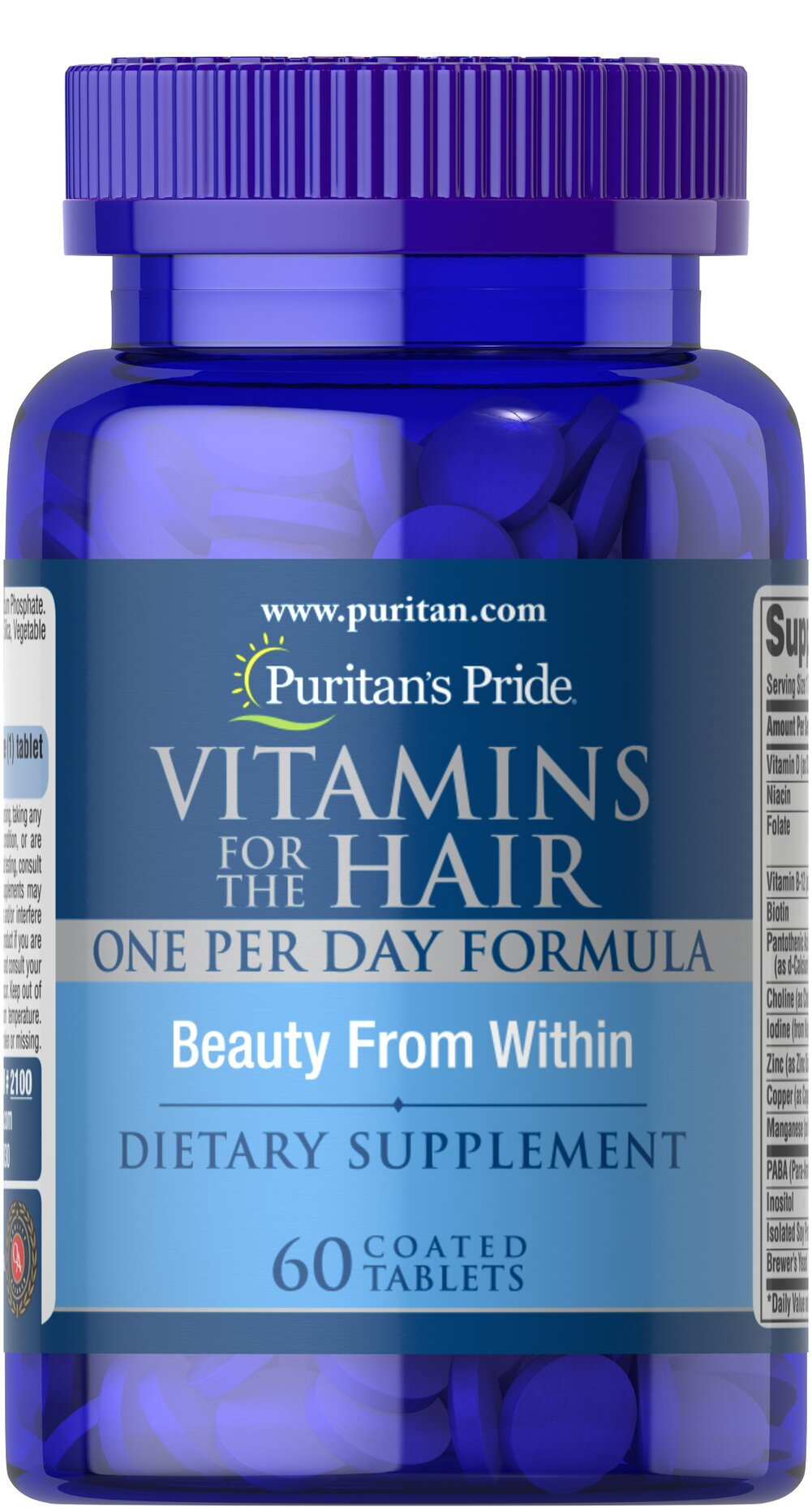 Vitamins for the Hair <p>A Natural Vitamin-Mineral Complex, especially Formulated for your Hair</p><p>Puritan's Pride has formulated Vitamins  for the Hair, to supplement your diet plan for a healthier looking head of hair.  Feed your hair the vitamins and minerals needed to help it be its healthiest.**</p> 60 Coated Caplets  $12.99