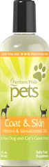 Coat & Skin for Pets <p>You can usually tell an animal's health by the condition of its coat and skin. Puritan's Pride Coat and Skin for Pets is a potent formula that can correct dry skin conditions, and promote a glowing coat and healthy skin. Coat and Skin provides vitamins A, D and E plus pure natural unsaturated oils essential to your pet. Give your dog the benefits of this carefully formulated health aid.</p> 12 fl oz. Liquid  $11.29