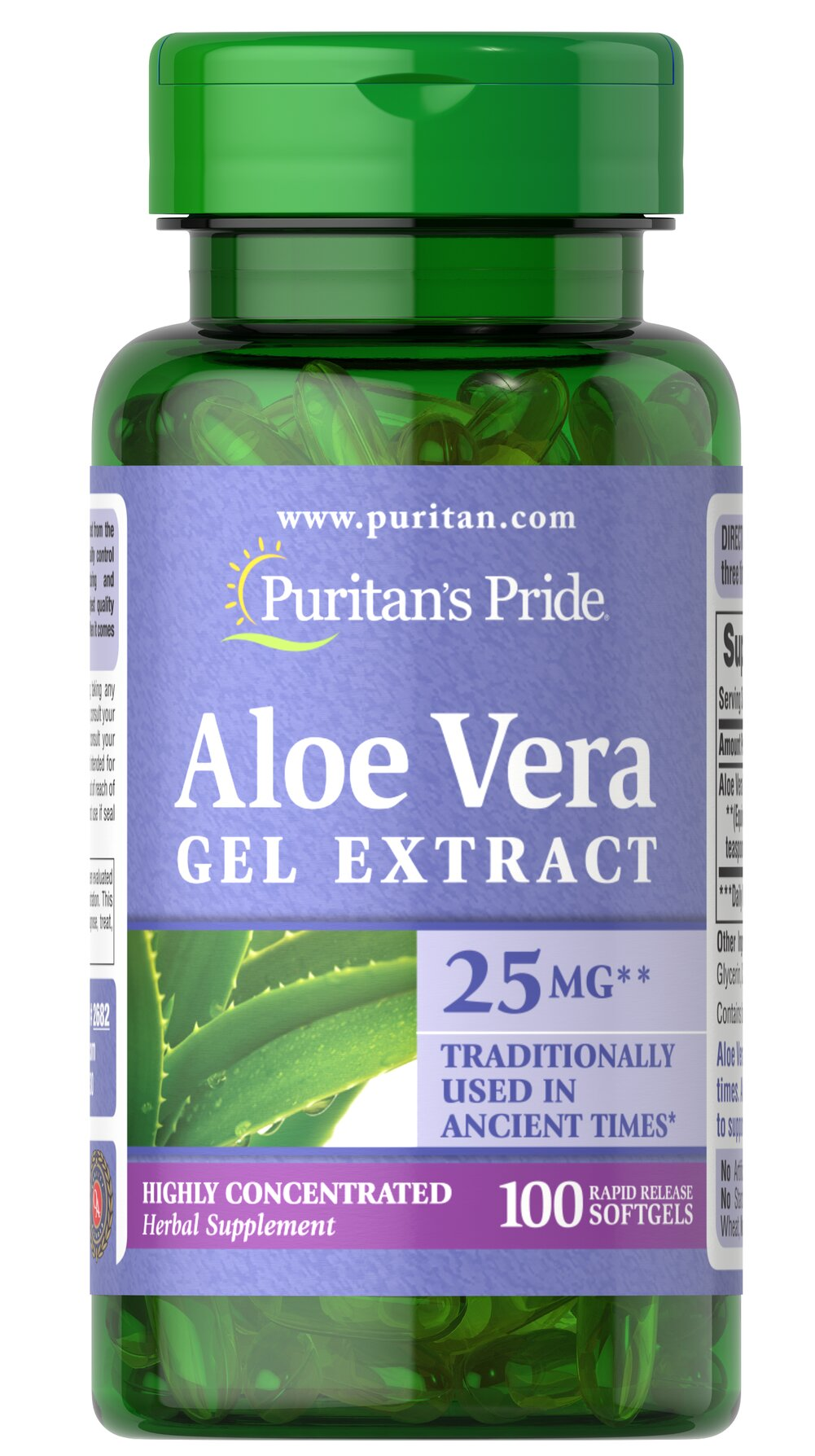 Aloe Vera Extract 25 mg <p>Serves as an aid for healthy digestion**</p><p>Plays a role in the well-being of the body**</p><p>Convenience of capsules, softgels and liquids is unsurpassed</p><p>Has been used and trusted for centuries. **</p><p>Aloe Vera contains a vast array of vitamins, minerals, amino acids, polysaccharides and phenolic compounds, and has been shown to support a healthy digestive system.**</p> 100 Softgels 25 mg $9.99