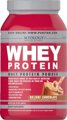 Whey Protein Deluxe Chocolate <p>You can drink Myology Whey Protein any time during the day to add extra high quality protein to your daily calorie intake. Our formula is easy to assimilate; it's 94% lactose free, and aspartame free. Plus, it's only 100 calories per scoop! Whey protein mixes fast into a tasty drink using water, juice or milk, and you can take it anywhere.</p><p>Convenient powder is available in three flavors: Creamy Vanilla, Deluxe Chocolate and Wild St