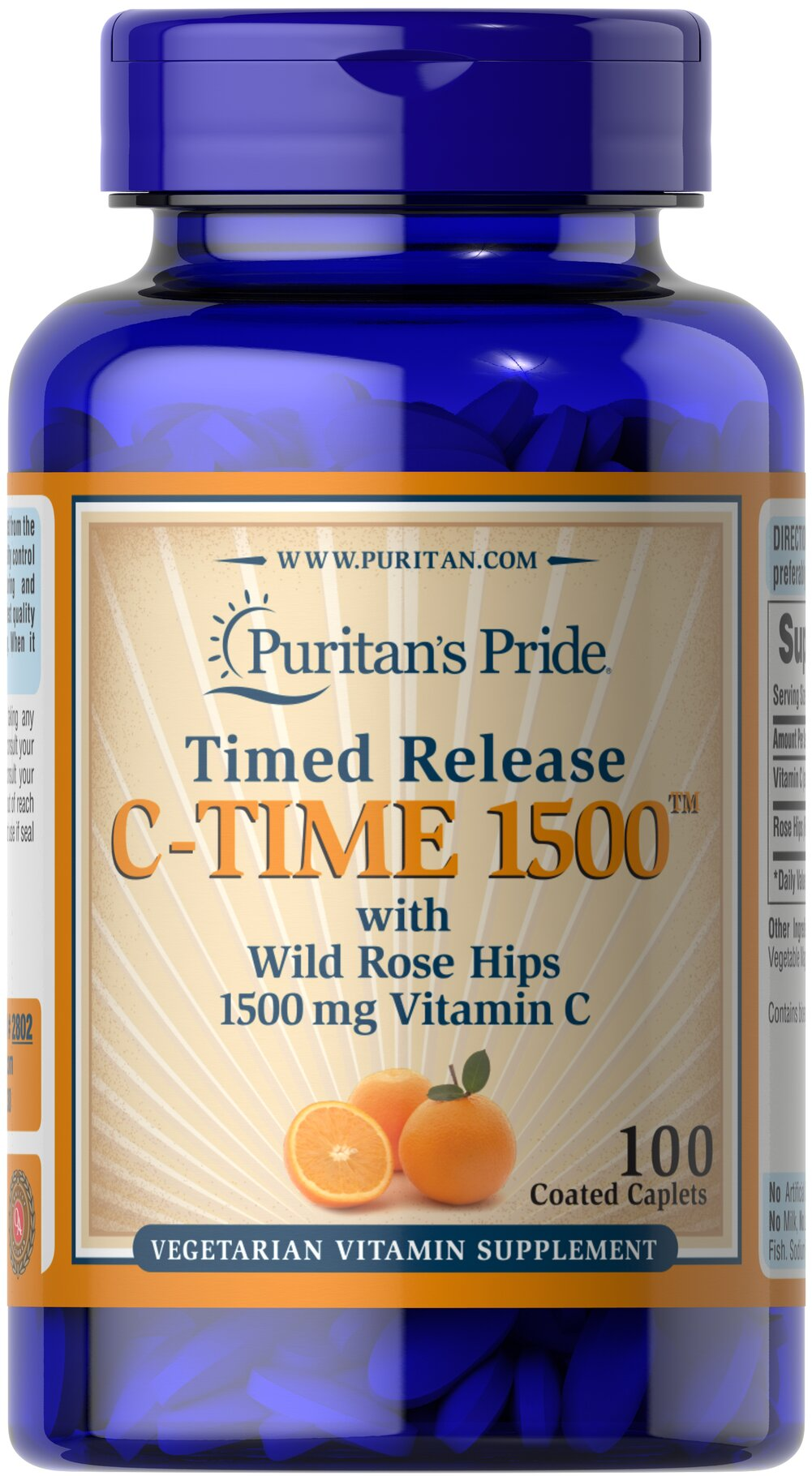Vitamin C-1500 mg with Rose Hips Timed Release  100 Caplets 1500 mg $18.49