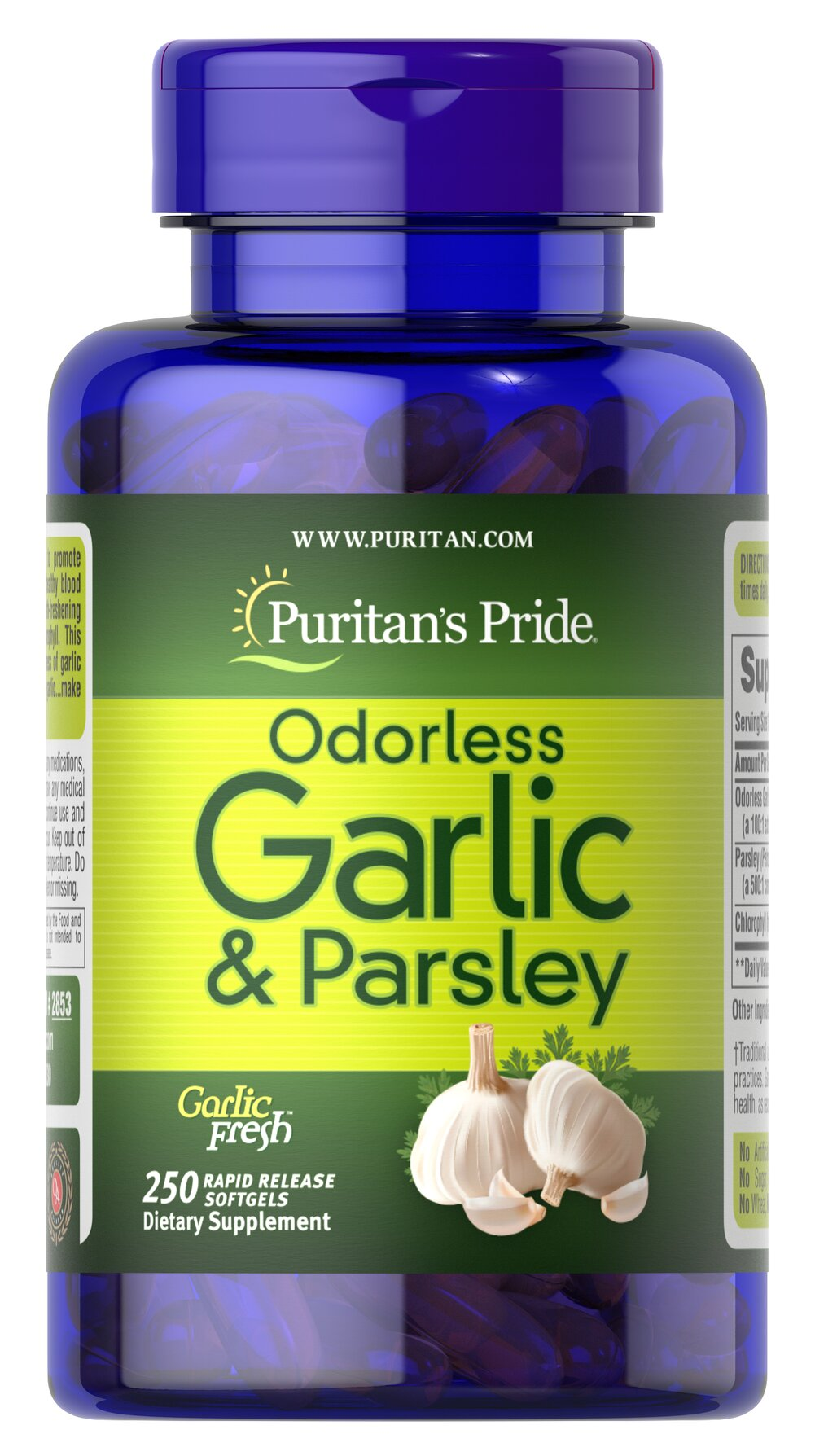 Odorless Garlic & Parsley 500 mg / 100 mg <p>Promotes heart and cardiovascular function**</p><p> Provides cholesterol support**</p> <p>Possesses beneficial antioxidant properties**</p><p>Traditionally used for respiratory health**</p><p>Contains breath-freshening Parsley and the plant nutrient Chlorophyll</p><p>These easy-to-swallow softgels are a great way to reap the natural benefits that Garlic has to offer without experien