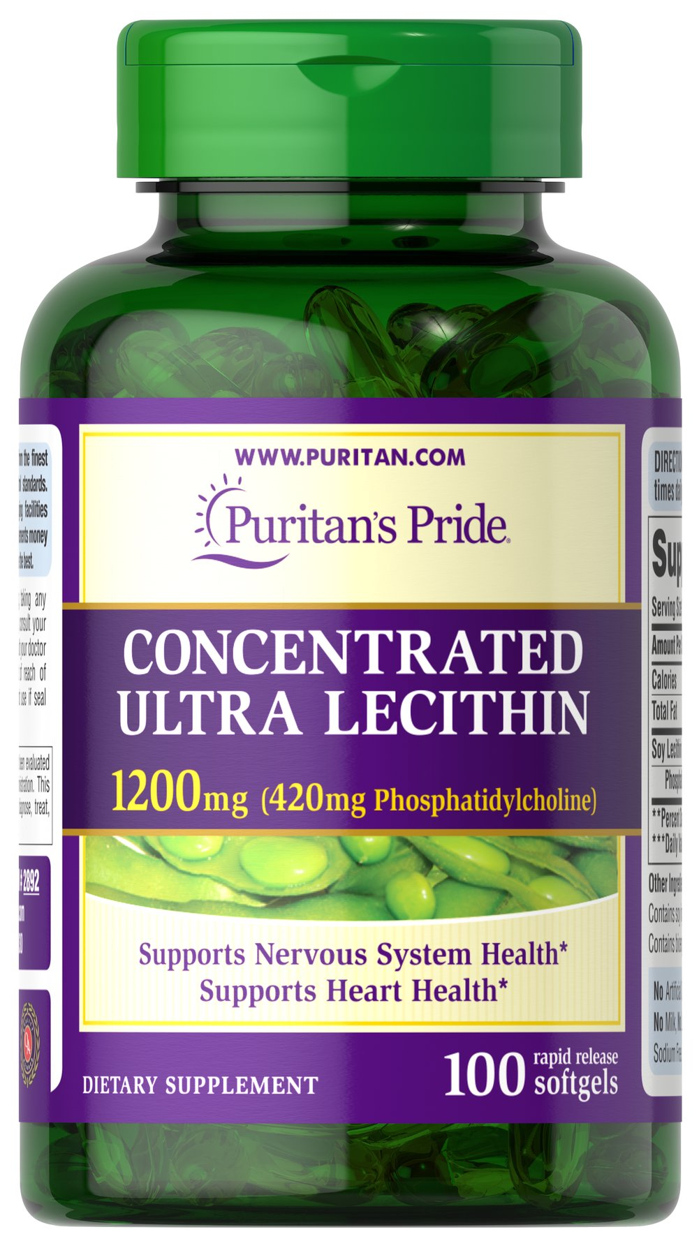 Concentrated Ultra Lecithin 1200 mg <p>Promotes healthy brain function**</p><p>Assists with cardiovascular health**</p><p>Contributes to a healthy nervous system**</p><p>Our highest potency Lecithin product to date++</p><p>One softgel provides you with a whopping 420 mg of naturally sourced Phosphatidylcholine, a vital part of the B Vitamin Complex.**</p> 100 Softgels 1200 mg $15.99