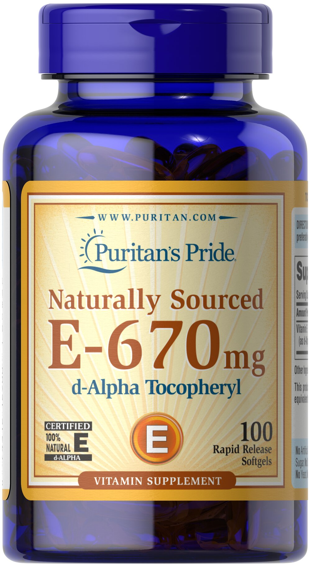 Vitamin E-100% 1000 IU Natural  100 Softgels 1000 IU $44.99