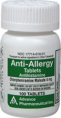 Anti-Allergy Antihistamine Chlorpheniramine Maleate 4 mg  100 Tablets 4 mg $8.29