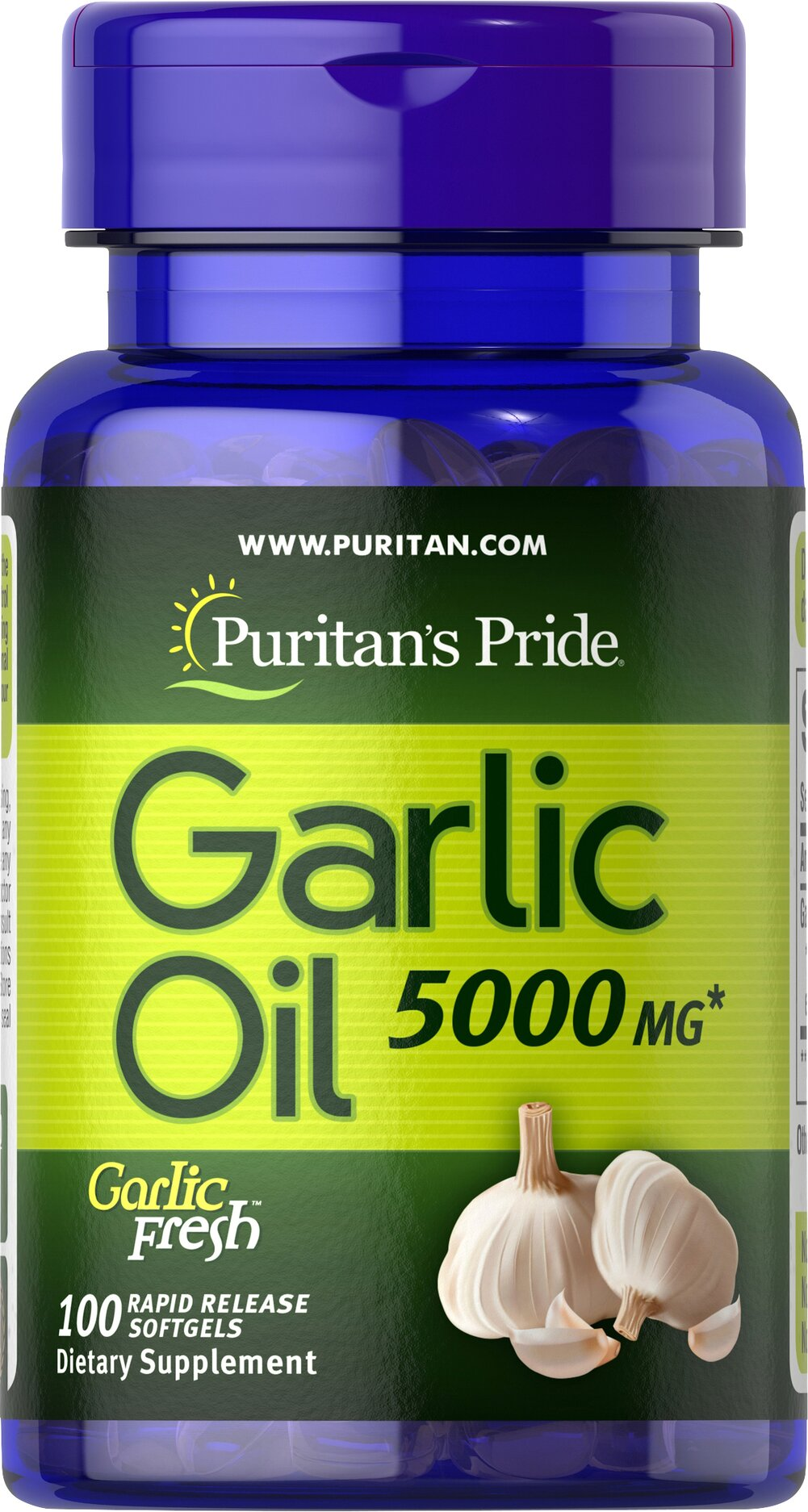 Garlic Oil 5000 mg <p>Cholesterol Support**</p><p>Supports Cardiovascular Health**</p><p>Whether warding off evil spirits or flavoring sauces, Garlic has been known for its beneficial qualities. Natural ingredients in Garlic include alliin, allinase and allicin. Garlic promotes cardiovascular health and helps to maintain cholesterol levels that are already within the normal range.**</p> 100 Softgels 5000 mg $10.99