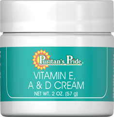 Vitamin E, A & D Cream <p>Puritan's Pride Vitamin E, A & D Cream is an excellent moisturizing emollient cream for dry, weathered skin.</p> 2 oz Cream  $8.29