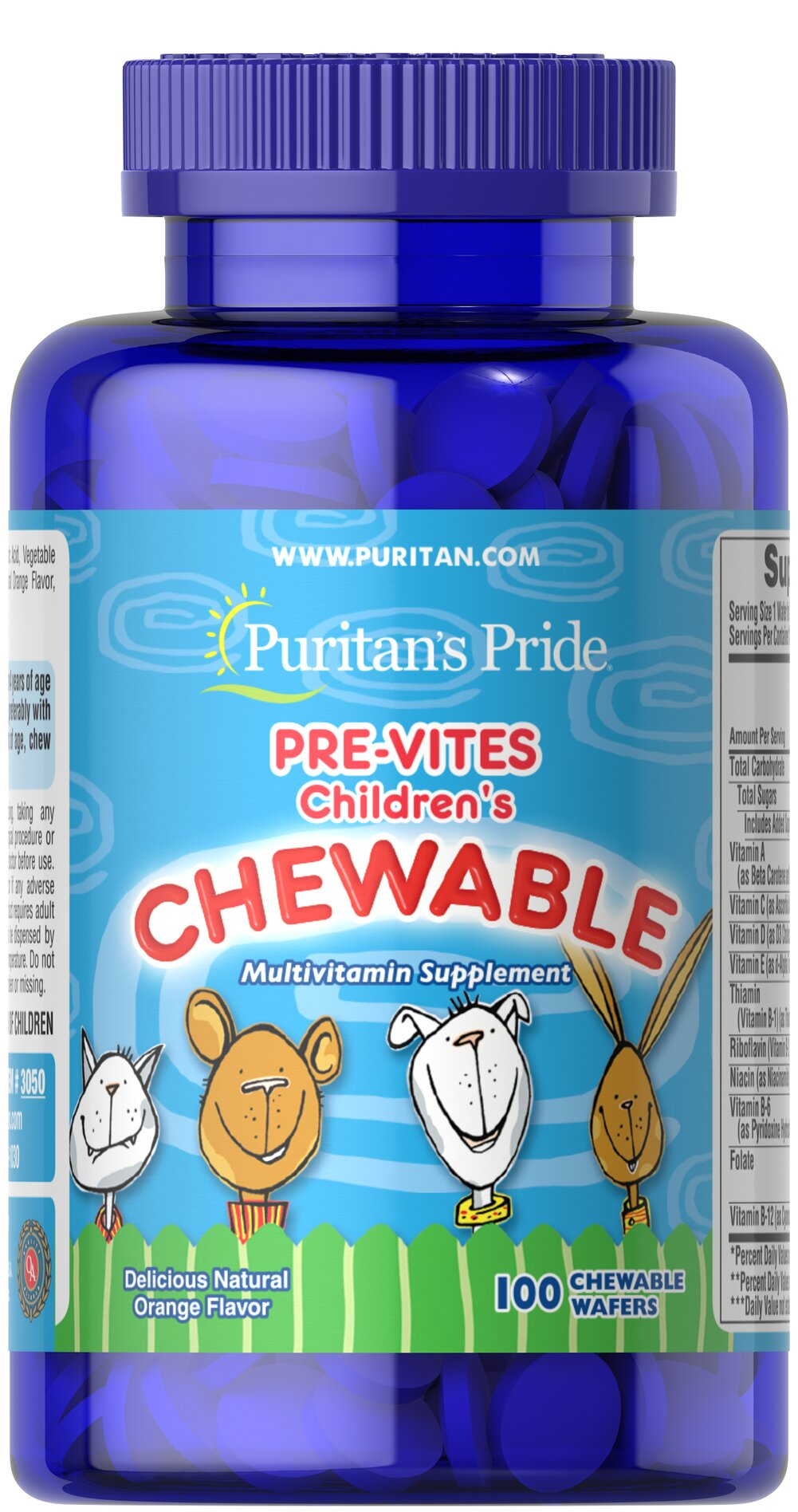 Pre-Vites Children's Multivitamin <p>Pre-Vites is the children's chewable multivitamin made with natural flavors. This delicious orange-flavored tablet provides active children with ten essential vitamins for proper growth and development. Preservative-free!</p> 100 Chewables  $8.99