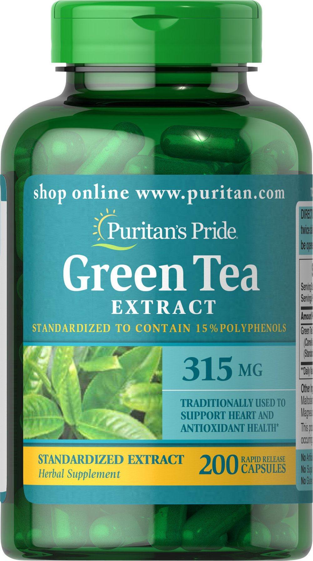 "Green Tea Standardized Extract 315 mg <p>Green Tea is a nutritional staple in Japan where it has been used for centuries. Green Tea contains beneficial flavonoids, which are natural phytochemicals that provide antioxidant support and health-enhancing properties.** Our ""non-irradiated"" Green Tea Extract contains naturally occurring EGCG.</p><p>Adults can take two capsules twice daily with meals. Capsules may be opened and prepared as a tea.</p> 200 Capsules 315 m"