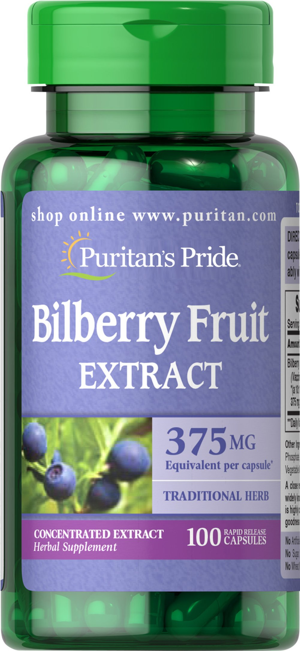 Bilberry 10:1 Extract 375 mg <p>Bilberry is a close relative of Blueberries. Our high-quality Bilberry contains over 15 different naturally-occurring anthocyanosides, which are flavonoids that contain beneficial antioxidant properties.** This formula contains 375 mg Bilberry (Vaccinium myrtillus) (fruit) (from 37.5 mg of 10:1 Extract).</p>  100 Capsules 375 mg $9.99