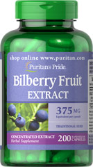 Bilberry 375 mg <p>Bilberry is a close relative of Blueberries. Our high-quality Bilberry contains over 15 different naturally-occurring anthocyanosides, which are flavonoids that contain beneficial antioxidant properties.** This formula contains 375 mg Bilberry (Vaccinium myrtillus) (fruit) (from 37.5 mg of 10:1 Extract).</p>  200 Capsules 375 mg $17.49