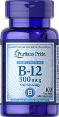 Vitamin B-12 500 mcg Sublingual <p>Puritan's Pride's unique B-12  lozenges and dots deliver essential B vitamins for energy metabolism in the body.** Vitamin B-12 is also essential for the normal formation of blood cells, contributes to the health of the nervous system, and helps maintain circulatory health.** Adults can take one lozenge or dot daily with a meal. Place lozenge or dot under tongue for 30 seconds before swallowing.</p> 100 Microlozenges 500 mcg $6.99