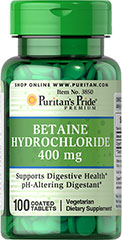 Betaine Hydrochloride 400 mg <p>Betaine Hydrochloride contributes to stomach acid in the body.**</p><p>Betaine Hydrochloride is a digestive aid and can be used to promote digestive health.**</p> 100 Tablets 400 mg $9.29