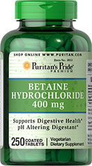 Betaine Hydrochloride 400 mg <p> Betaine Hydrochloride contributes to stomach acid in the body.**</p><p> Betaine Hydrochloride is a digestive aid and can be used to promote digestive health.**</p> 250 Tablets 400 mg $19.59