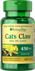 Cat's Claw Complex 450 mg <p>Cat's Claw (Uncaria tomentosa) is a natural whole herb. </p><p>Supports Immune System Health**</p><p>Supports Joint Health**</p> 60 Capsules 450 mg $16.99