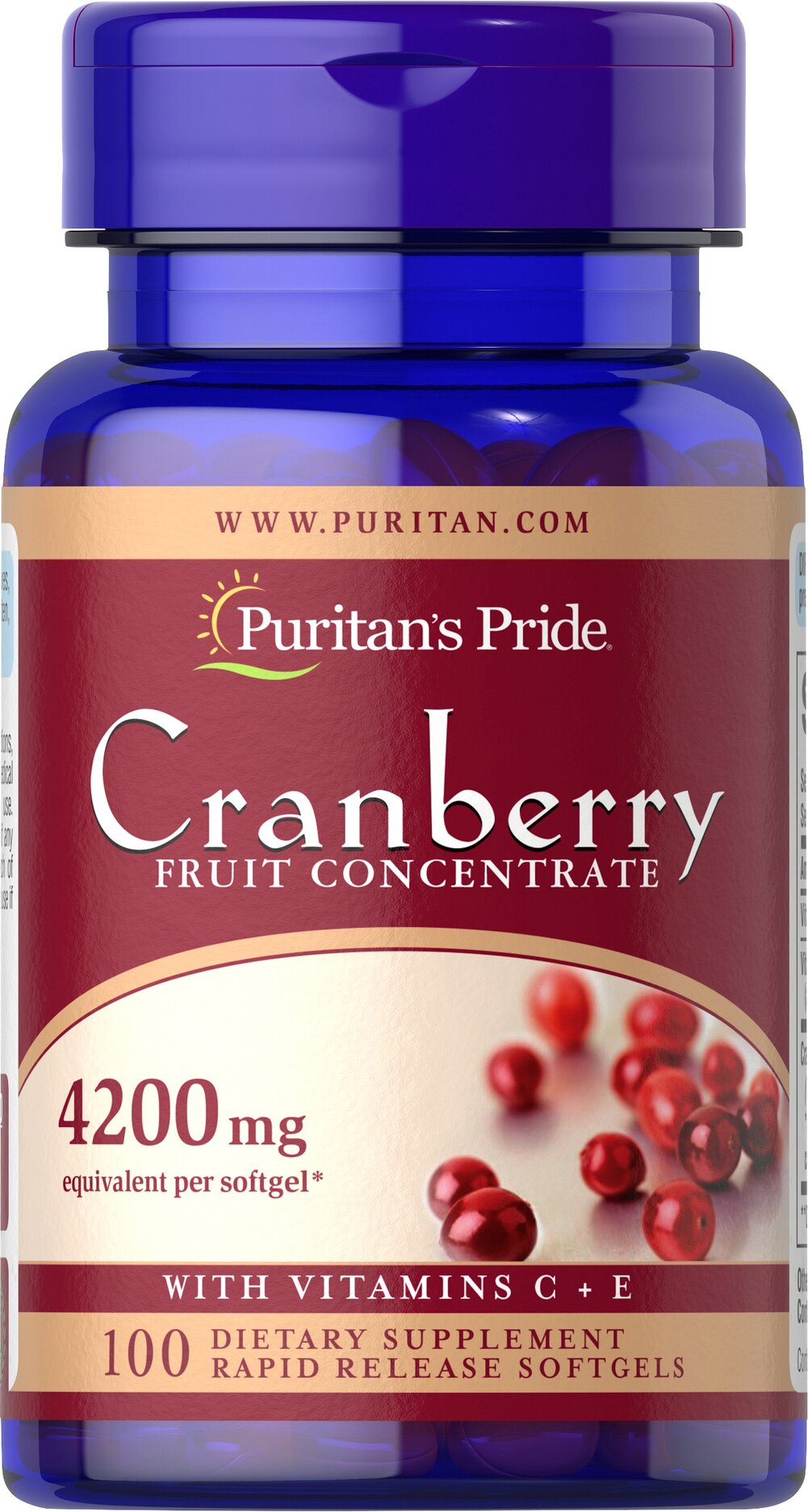 Cranberry Fruit Concentrate with C & E 4200 mg <p>This product has the benefits of concentrated cranberry without the unnecessary sugar and calories. Each of our concentrated (4200 mg) Cranberry softgels provide the equivalent of (8400 mg) of fresh cranberries plus (40 mg) of Vitamin C and 6 IU of Vitamin E.  Adults can take two softgels 3 times daily, after meals.</p> 100 Softgels 4200 mg $7.19
