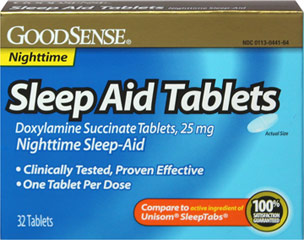 Sleep Aid 25 mg <p><b>From the Manufacturer's Label: </p></b><p>Helps to reduce difficulty falling asleep. Safe, proven effective, just one tablet per dose. For adults and children 12 years and over.   Fall asleep fast!</p><p>Active ingredient: Doxylamine succinate 25 mg (night sleep aid).</p><p>Compare to the active ingredient in Unisom®.</p> 32 Tablets 25 mg $17.49